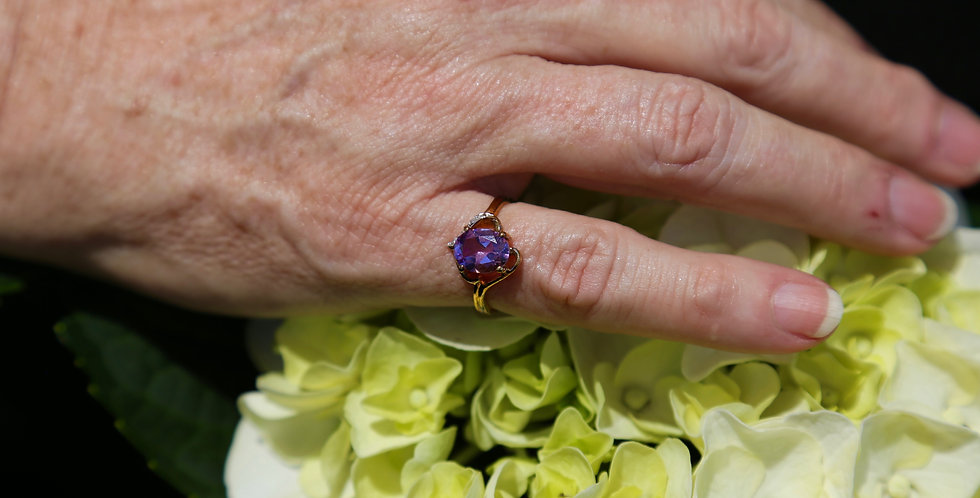 Amethyst and Diamonds ring Size 7