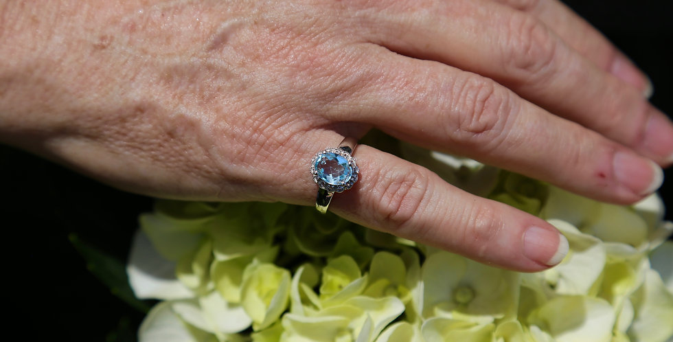 Swiss Blue and White Topaz Sterling Silver, Size 7