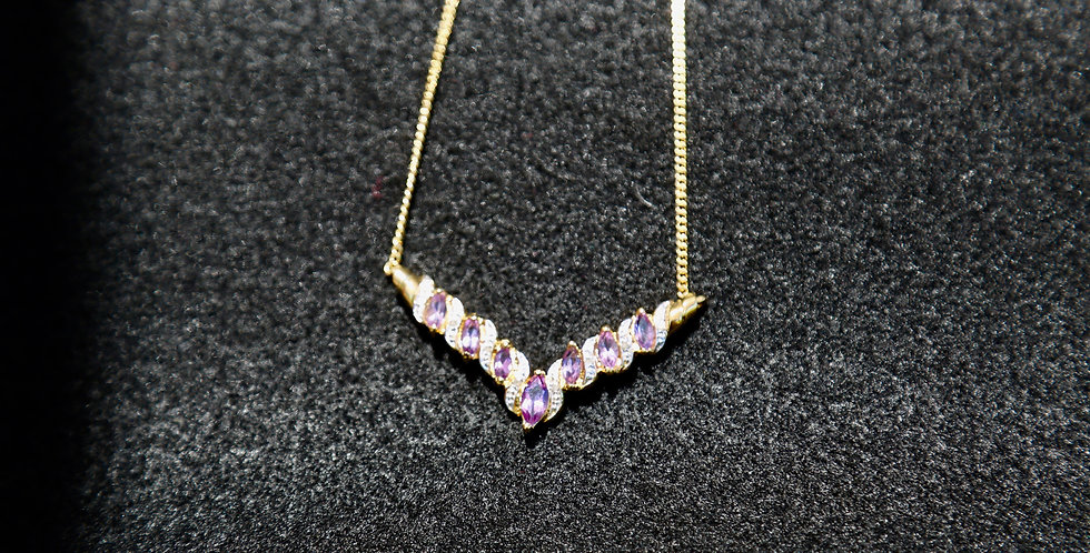 Amethyst and Diamond Necklace, 18""