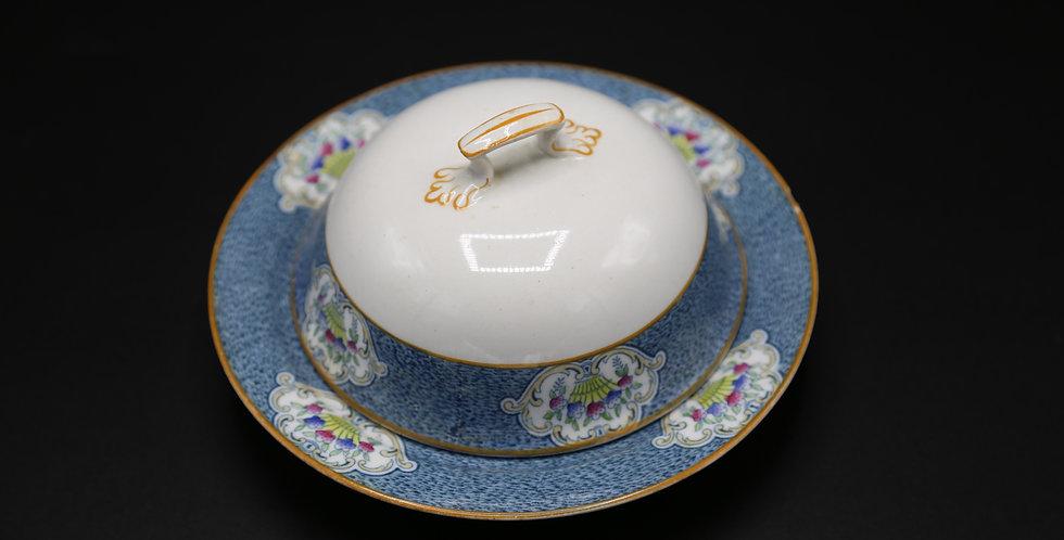 J & G Meakin Hanley England Newark Sol Blue band flower basket Round Butter Dish