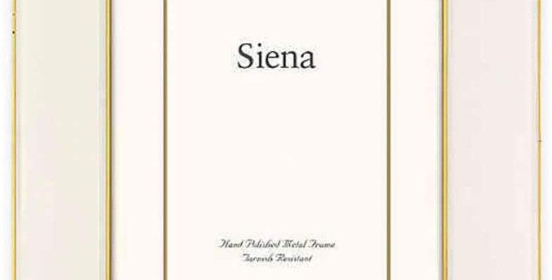 Siena Metallics 5-Inch x 7-Inch Wide Deco Enamel Frame in White/Gold