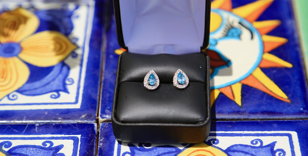 14K White Gold  Swiss Blue and Diamonds Earrings
