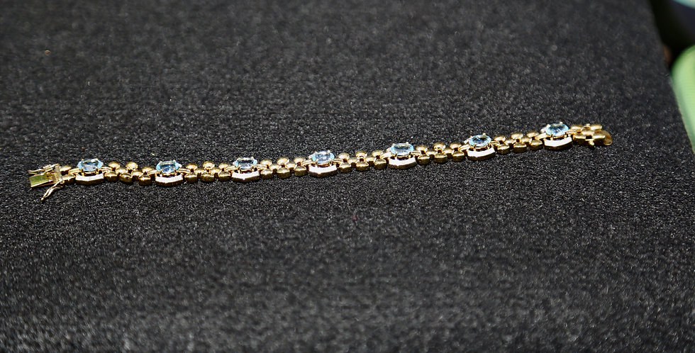 Swiss Blue Topaz and Diamond Bracelet, 7 inch