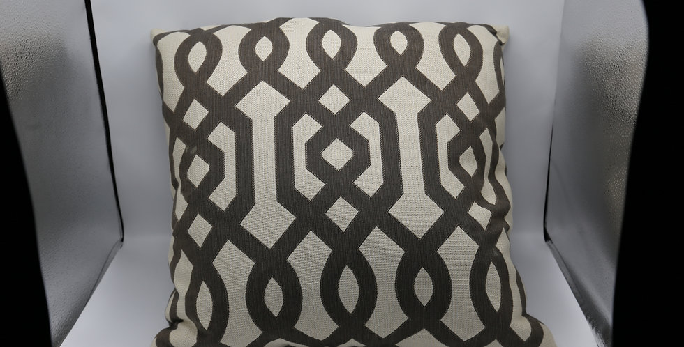 Brown and Linen Geometric Pillow - Custom