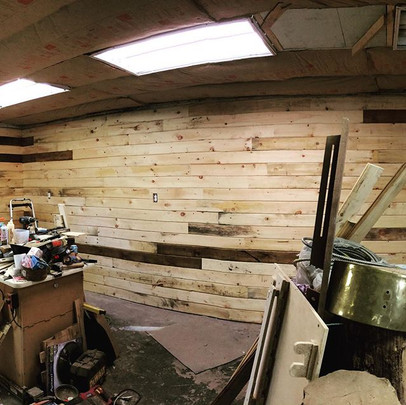 Shop update, majority of the pine siding is up, currently working on the main bench that's