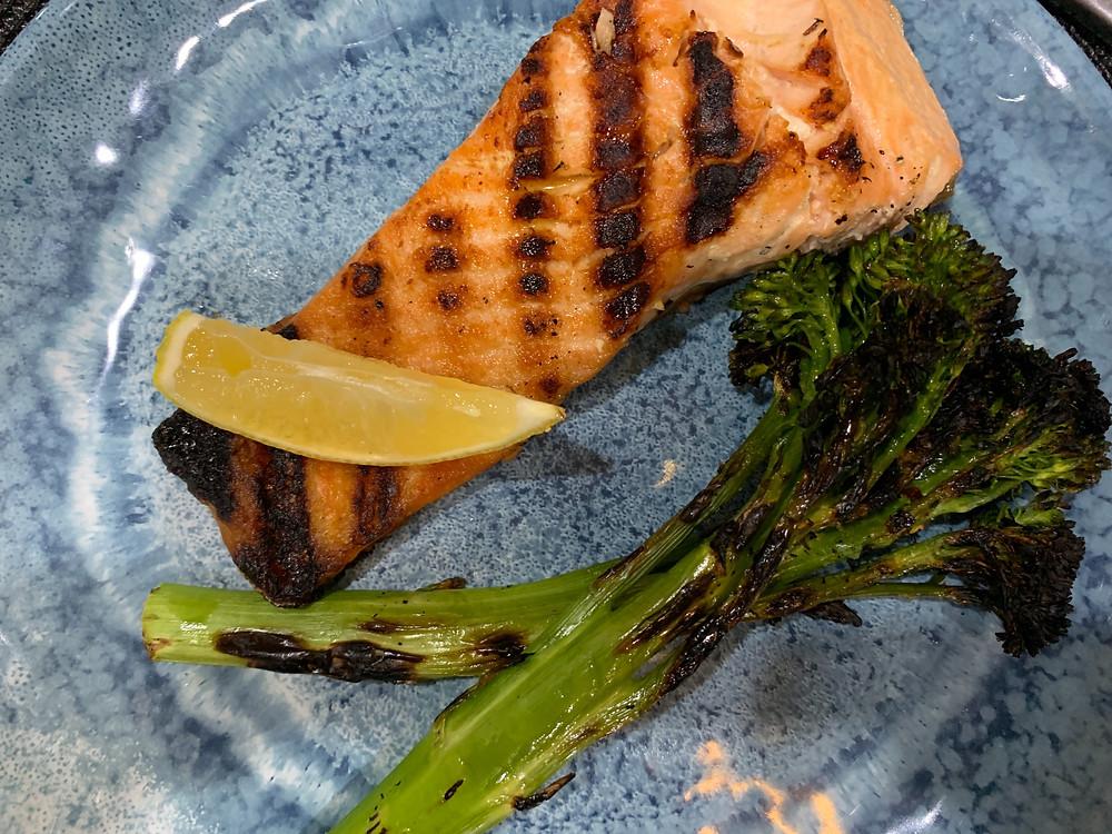 grilled salmon broccolini lemon