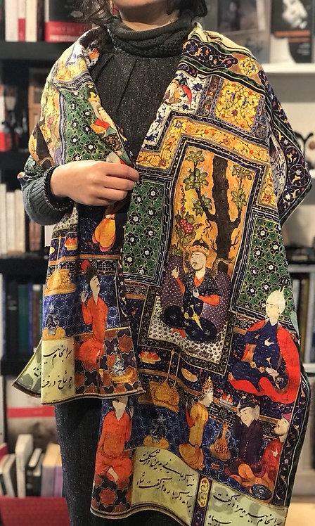 Châle foulard Keshmir Miniature Shahnameh La cuisine du diable