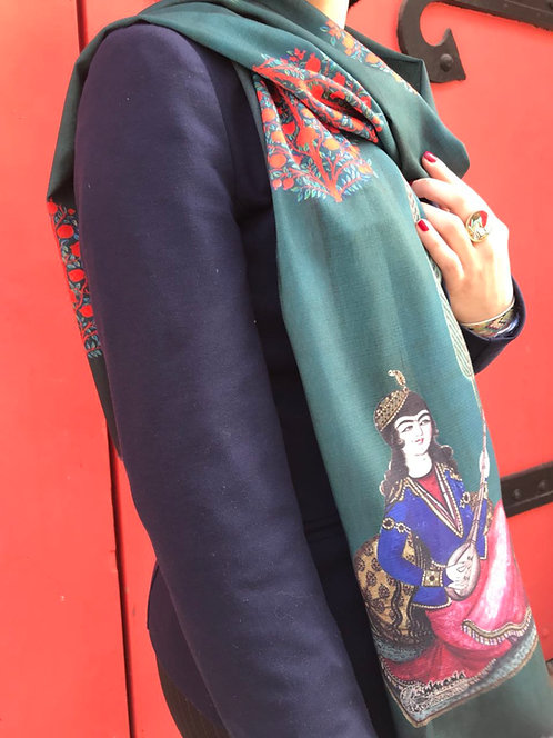 Châle foulard la grenade et la musicienne vert