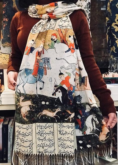 Châle foulard Shahnameh Scène de chasse