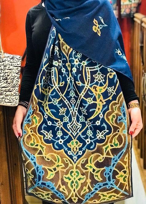 Châle foulard Céramique coupole bleu cashemir