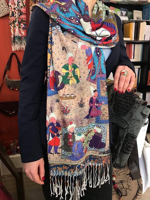 Châle foulard Miniature Shahnameh Rencontre de Soudabeh et Kavous