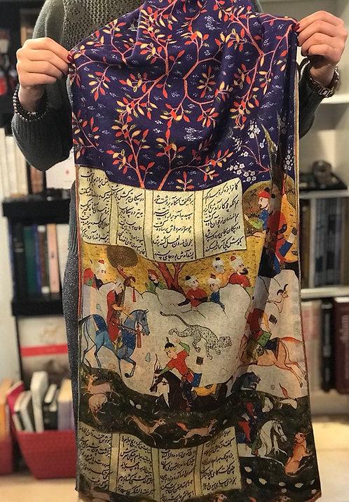 Châle foulard Keshmir Shahnameh Scène de chasse