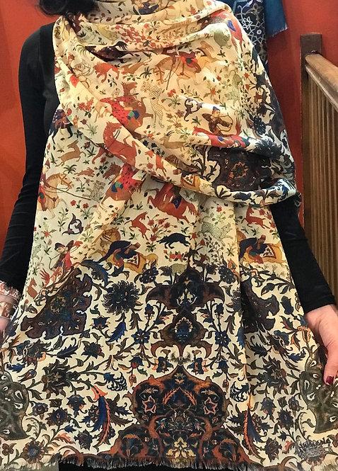 Châle foulard Tapis persan chasse