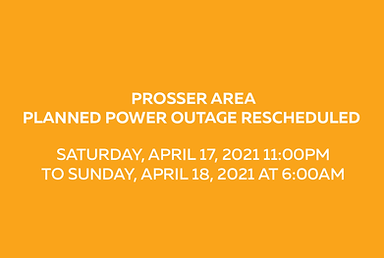 Prosser Area Planned Power Outage - RESCHEDULED