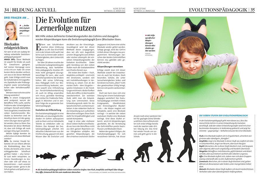 Kleine Zeitung - Evolutionspädagogik