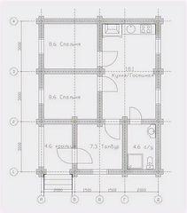 Строительство деревянных домов. Проект DD-51,8 Дом из оцилиндрованного бревна, Алтайского КЕДРА, Бруса