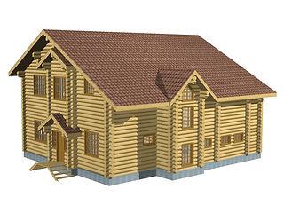 Строительство деревянных домов. Проект DD-267,4 Дом из оцилиндрованного бревна, Алтайского КЕДРА, Бруса