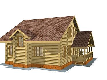 Строительство деревянных домов и бань. Проект DB-202,2 Дом и Баня из оцилиндрованного бревна, Алтайского КЕДРА, Бруса