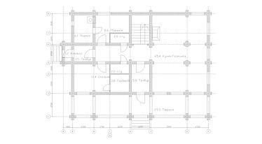 Строительство деревянных домов. Проект DD-233 Дом из оцилиндрованного бревна, Алтайского КЕДРА, Бруса