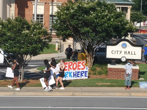 Protest at Lawrenceville City Hall