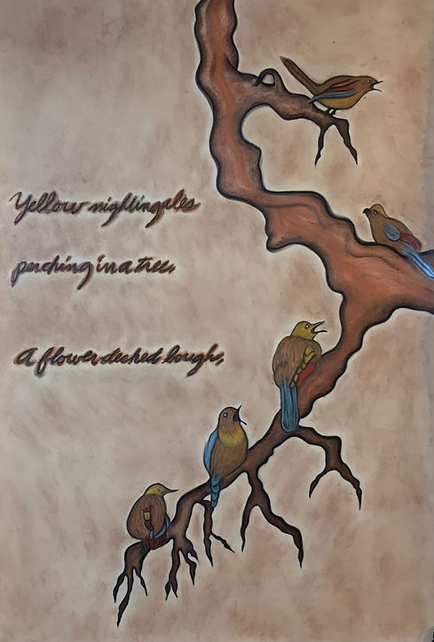 Nightingalles Perching in a Tree. A flow