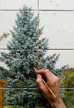 Détail d'une fresque en cours de fab
