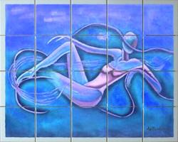Fresque sur carrelage pour Spa