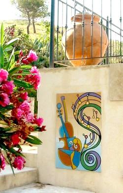 Fresque sur carrelage pour poolhouse