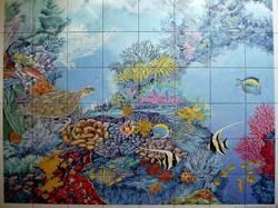 Fresque sur carrelage de salle d'eau