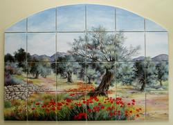 Fresque pour niche en anse de panier