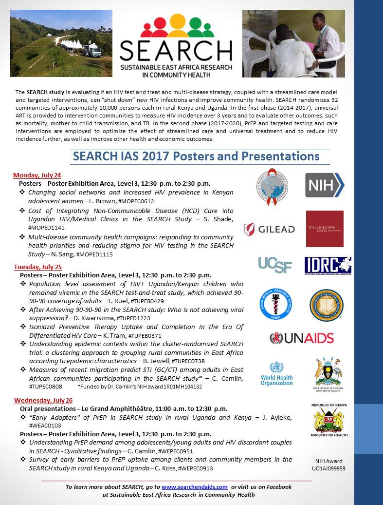 The SEARCH study will be represented at the IAS 2017 conference this week held in Paris. To those in attendance, please join us! The complete listing of posters and presentations at this conference are provided.