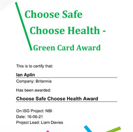 Health & Safety Recognition for Britannia Operatives