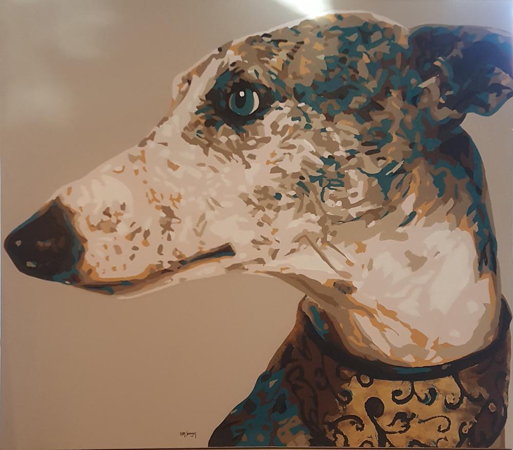 Tela pintada por Vitor Senger de cachorro