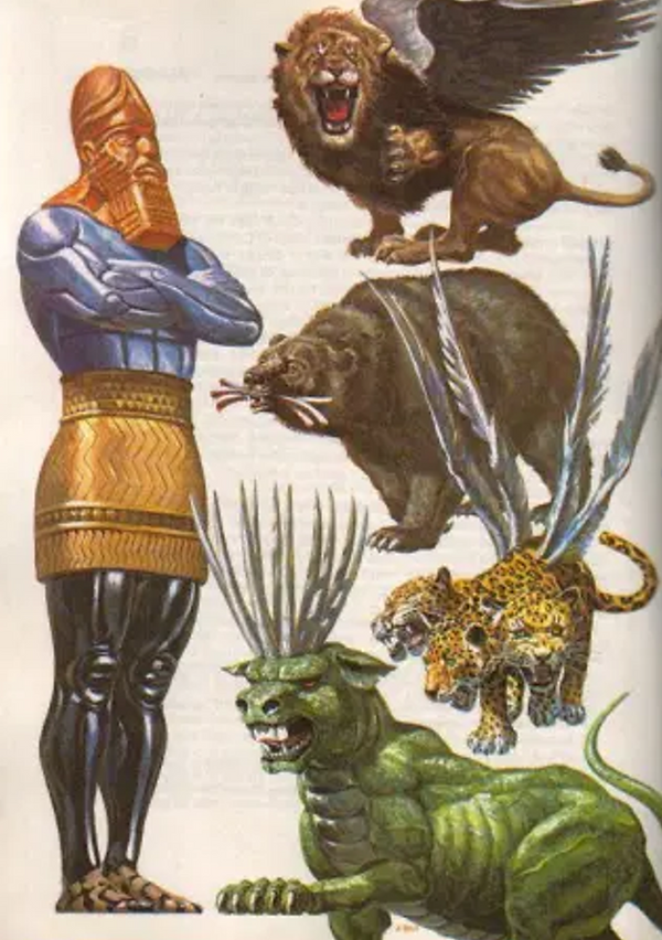 Daniel 2 and 7 Colossus and Four Beasts.