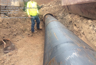 HDPE pipe during slip lining installation