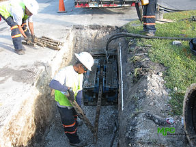 Static pipe bursting sewer force main replacement