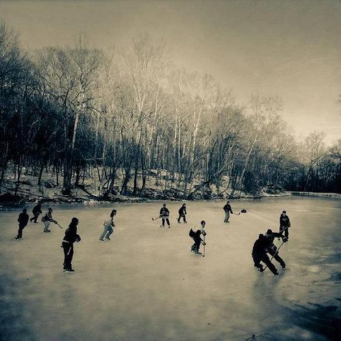 """ADK"" Pond Hockey -Wood Print"