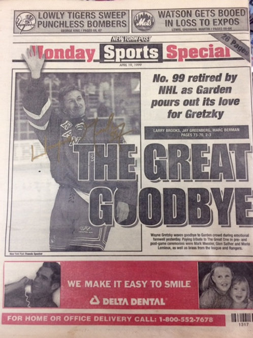 Gretzky Signed Final Game NYP