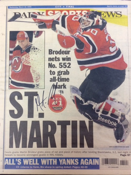 Brodeur Signed Daily News Cover