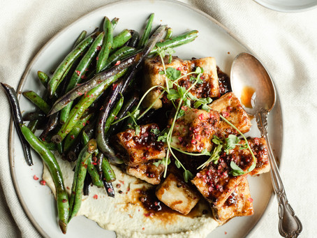 Crispy Tofu with Pink Peppercorns and Pole Beans