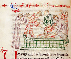 Depiction of the exhumation of St Cuthbert, 698CE.