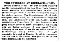 Cropped image of a report on the cholera outbreak at middlesbrough.