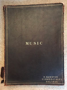 "A large brown book marked ""MUSIC - H.BAIRSTOW SUMMER-CROFT, HALIFAX' containing sevn of the seaton snook northumbrian smallpipes pieces, possibly written by Robson Booth"