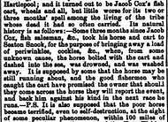 Report of the third death of Jacob Cox's Horse