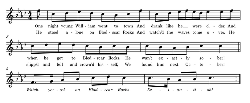 Transcribed score of folk song, Blodscar Rocks
