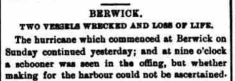 Hurricane reported at Berwick, 3rd November 1868