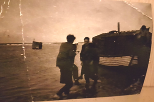 Houseboats in Seaton Snook were huts built atop flat-bottomed boats called cobles. The gentleman in this photo did not exist.