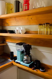 Shelves crafted from macrocarpa, and a moccamaster to create a perfect morning brew.