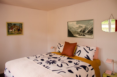 The pink room, with organic cotton sheets and the most comfortable bed you'll ever sleep on.