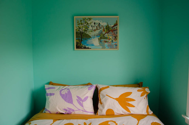 Queen room with the softest organic cotton sheets.